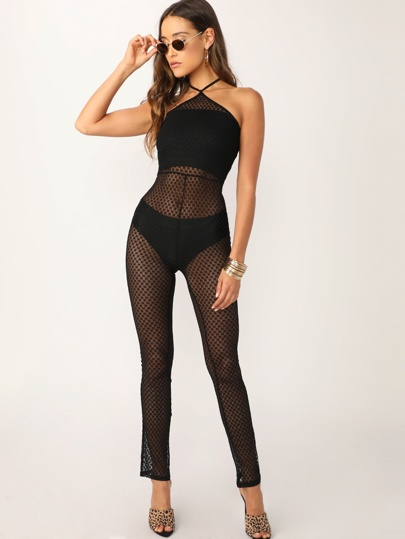 abd3b032666e Sheer Mesh Halter Neck Back Zip Jumpsuit