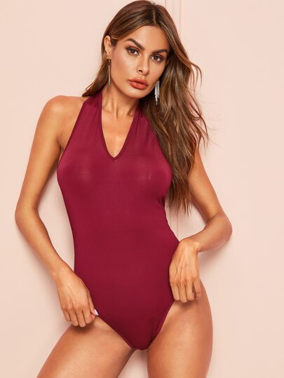 cabe6a92795 Open Back Slim Fitted Halter Bodysuit