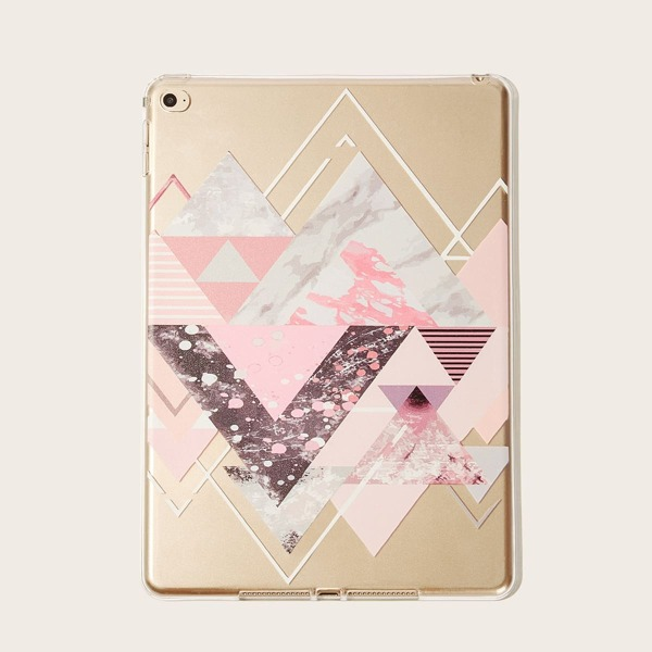Geometric Pattern Transparent iPad Case, Pink