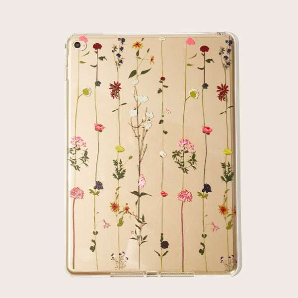 Flower Pattern Transparent iPad Case, White