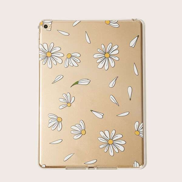 Daisy Pattern iPad Case, White