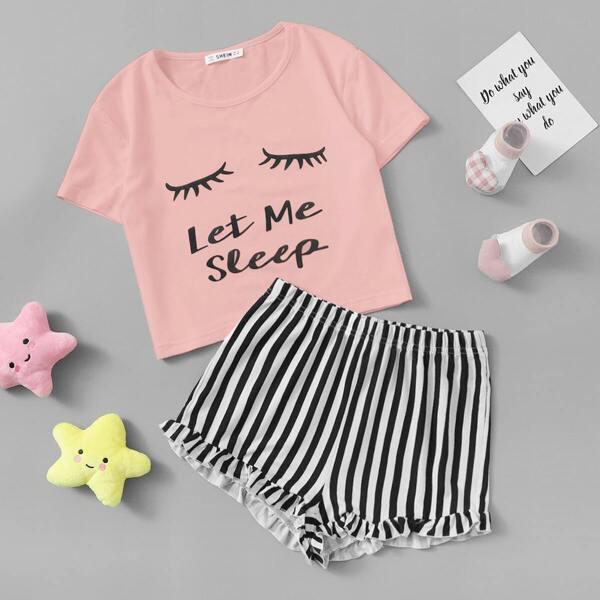Girls Graphic Tee & Frilled Hem Striped Shorts PJ Set, Multicolor