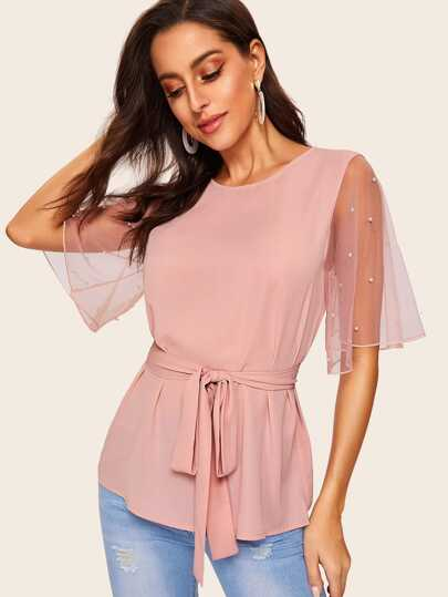 7f44025b487883 Pearl Beaded Mesh Flutter Sleeve Belted Top
