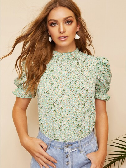 4f5345d71fc Ditsy Floral Frill Neck Puff Sleeve Top