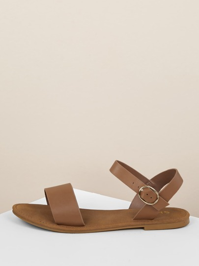 a02f0c332ebf Sling Back Ankle Strap Single Band Flat Sandal TAN