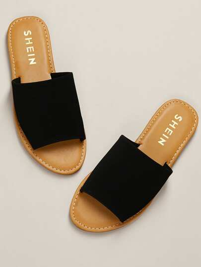 9f540aa73d5 Nubuck Single Band Slide Sandal BLACK
