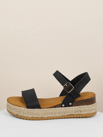 e4c40867c Open Toe Band Ankle Strap Jute Flatform Sandals