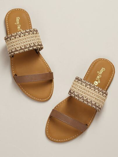9d511a4fbdfd Woven Straw Double Band Open Toe Slide Sandals