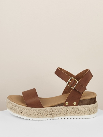 ca86a79ea52 Single Band Espadrille Platform Wedge Sandals