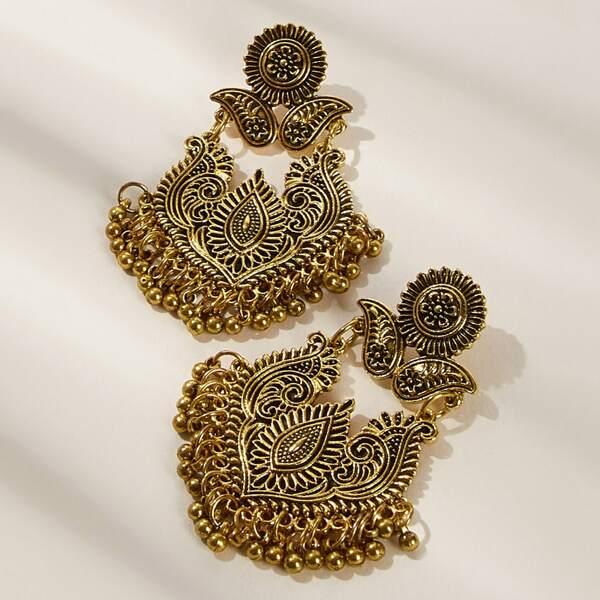 Lotus Design Fringe Drop Earrings 1pair, Gold