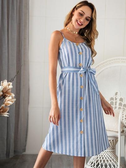 6dde8e89e115d Button Through Striped Belted Cami Dress