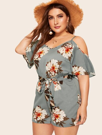 b81831a3a3f Plus Floral Print Cold Shoulder Romper