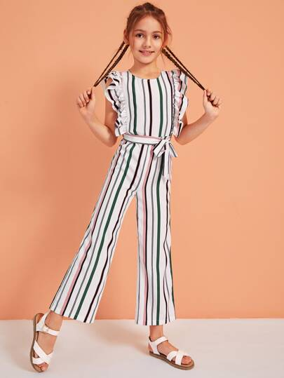 34053356cd19 Girls Ruffle Trim Striped Belted Jumpsuit