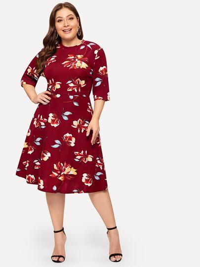 Plus Zip Back Floral Print Dress c8c07d789