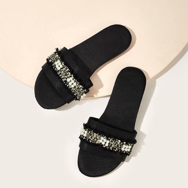 Open Toe Faux Pearl Decor Sliders, Black