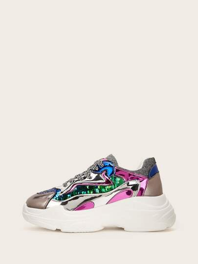 1ccf02e62f7 Sequin Detail Lace-up Chunky Sneakers