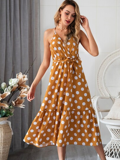 1485e51eb0 Polka Dot Ruffle Hem Belted Cami Dress