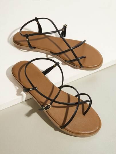 d0707155e3ba Criss Cross Strappy Flat Sandals