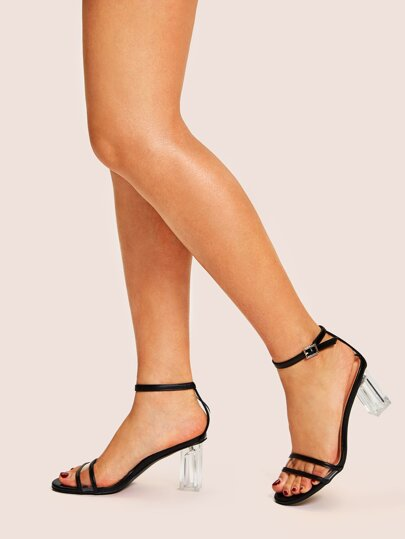 a1970572adc Transparent Strappy Chunky Heels