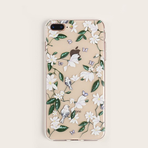 Flower Print Transparent iPhone Case, Multicolor