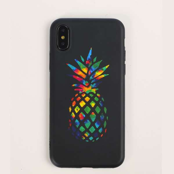 Pineapple Pattern iPhone Case, Black