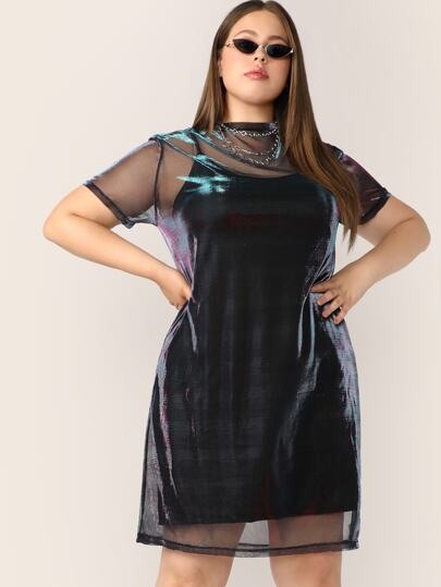 85949d6ef7c Plus Sheer Mesh Panel Dress With Cami Dress