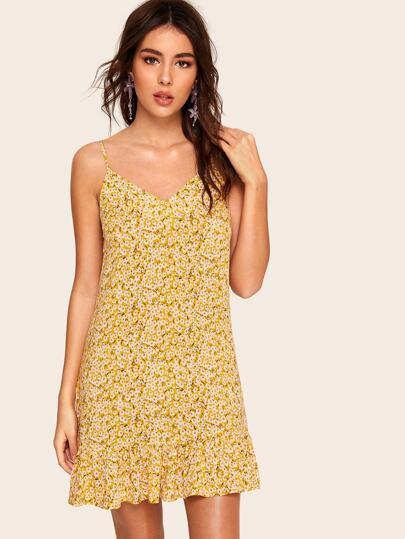 7bdd77a36c1 Ditsy Floral Print Ruffle Hem Cami Dress