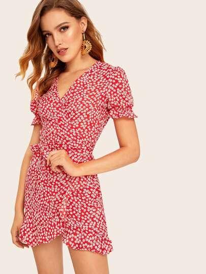 95753191ad7 Self Tie Ditsy Floral Print Dress