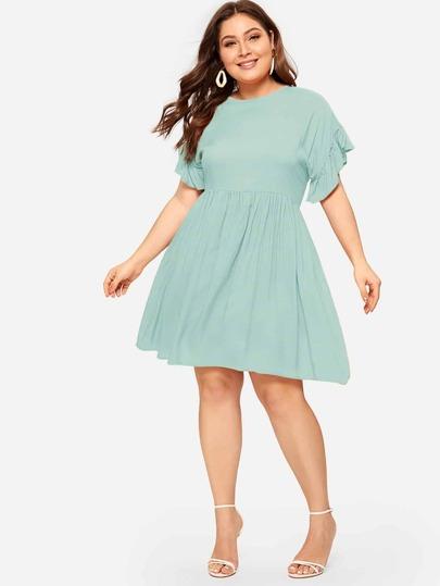 b25ca74d6d04 Plus Contrast Ruffle Cuff Dress