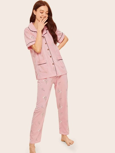 ff2606dd55 Floral Print Button-up Pajama Set
