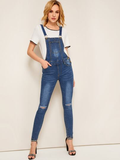 ff5a62b022 Ripped Pocket Patched Denim Jumpsuit