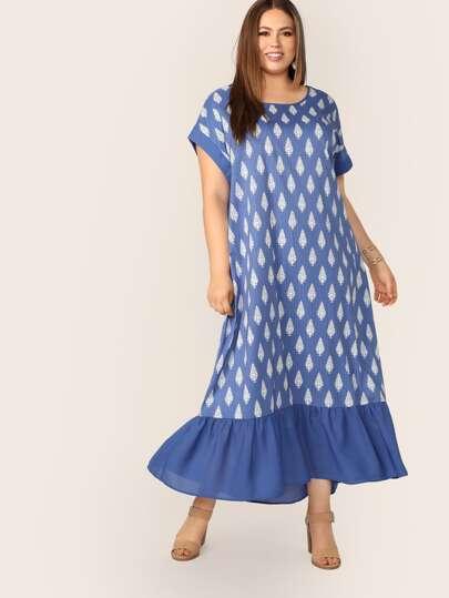 85295a011fc61 فستان مقاس كبير بحافة مكشكش بطباعة مخطط وباالنباتات
