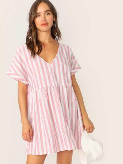 V-neck Cutout Back Roll Tab Sleeve Striped Dress 53e8d5b80