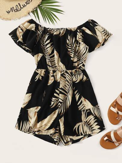 98317c199860 Plus Off-shoulder Leaf Print Romper