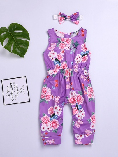 70fe127e525 Toddler Girls Floral Print Tank Jumpsuit With Headband