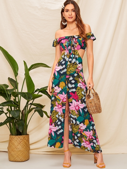 35e3732da8f9 Off The Shoulder Floral Print Cut Out Dress