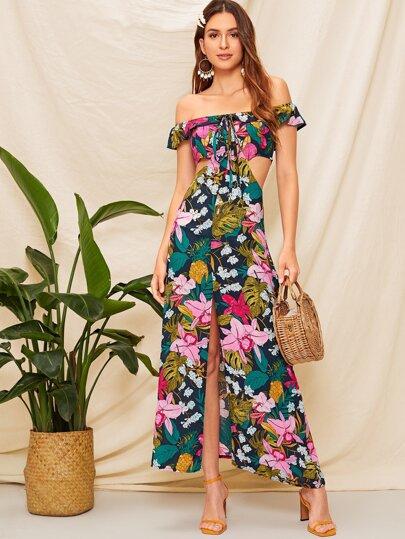 06e5161f336 Off The Shoulder Floral Print Cut Out Dress