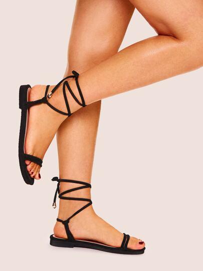 af9462730 Lace-up Strappy Flat Sandals