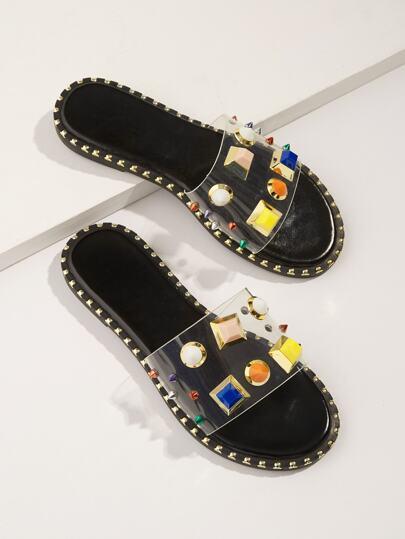 57350f545da512 Jewelled   Studded Flat Slippers