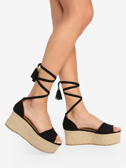 e42a7ef20d59 Lace Up Open Toe Jute Trim Wedge Sandals