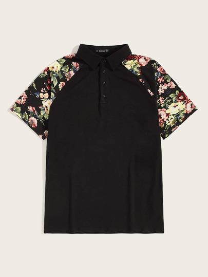 fcc75ce33358 Men Flower Raglan Sleeve Polo Shirt