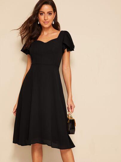457e568c642c Flutter Sleeve Sweetheart Neck Fit   Flare Dress