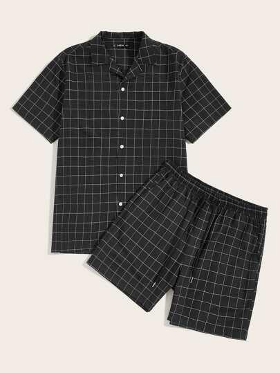 f699be691d4 Men Button Up Notched Grid Shirt   Shorts Set