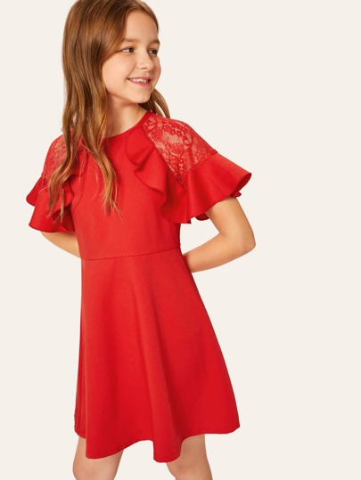 fcf76e74fe7 Girls Ruffle Trim Lace Insert Dress