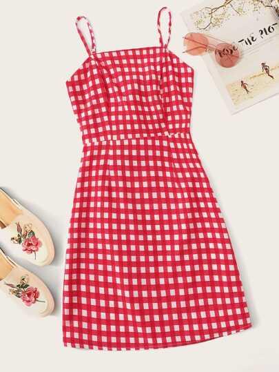 198b2af1668b Tie Back Plaid Cami Dress