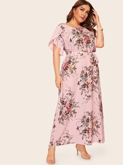 6abc8fd8d1 Plus Floral Print Petal Sleeve Dress