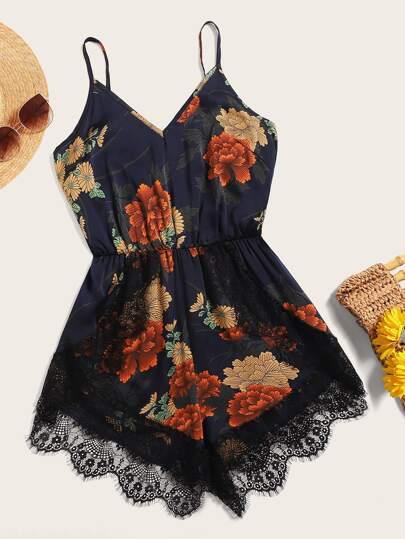 8bc50caf665 Plus Contrast Lace Floral Print Romper