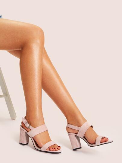 8562320bfe6 Plain Slingback Chunky Heels