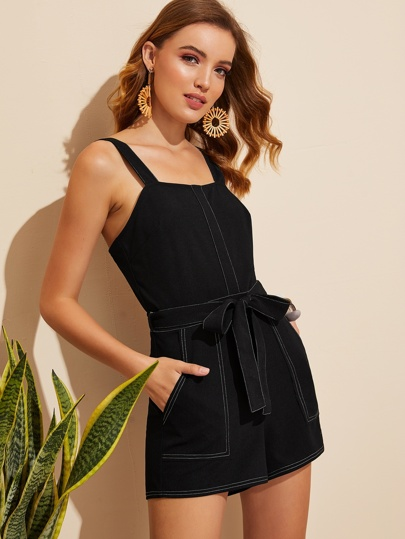 41f0e4b258c0 Pocket Patched Belted Contrast Stitch Romper