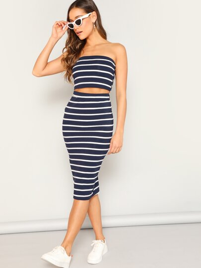 02796b5332ff Horizontal Striped Bandeau   Slit Hem Skirt Set